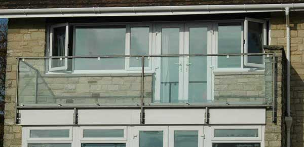 photo: Glass Juliet Balcony in dark grey