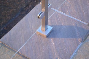 Square Post Glass Balustrade - close up of post