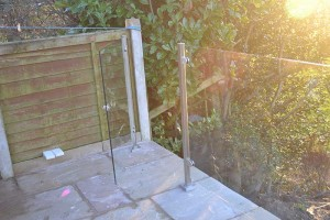 photo: Square Post Glass Balustrade - Door opening
