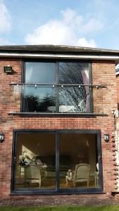 installed glass balcony